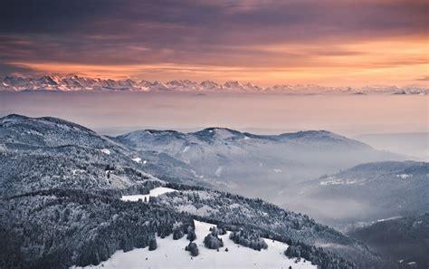 foggy mountains orange sky wallpapers foggy mountains