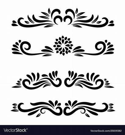 Floral Line Motifs Ornamental Element Clipart
