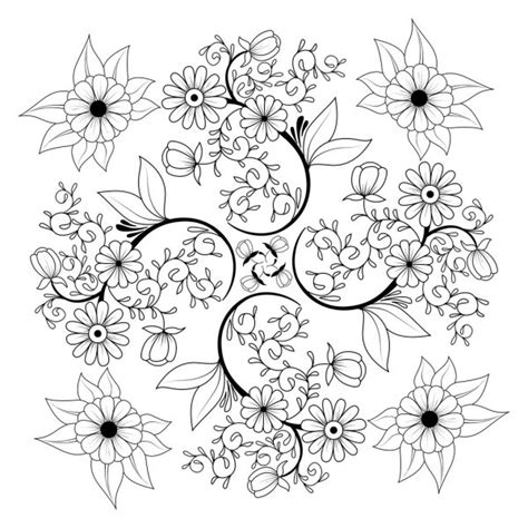 Hand drawn floral coloring page. Background, cover — Stock ...