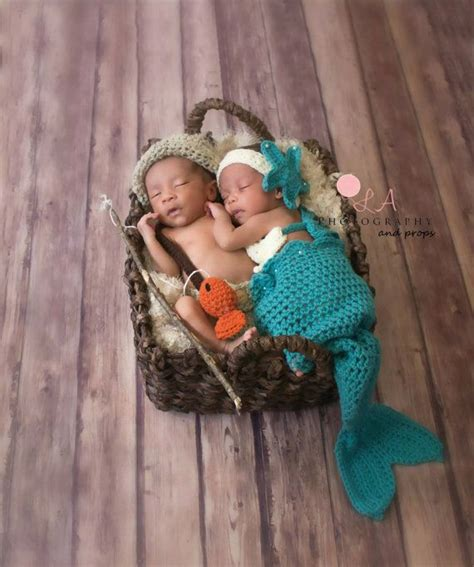 mermaid fisherman twin photo prop set crochet newborn