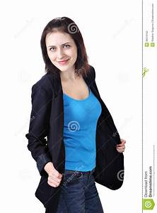 Girl Dressed In Dark Blue Jacket T-shirt And Jeans Stock Photo - Image 39374152