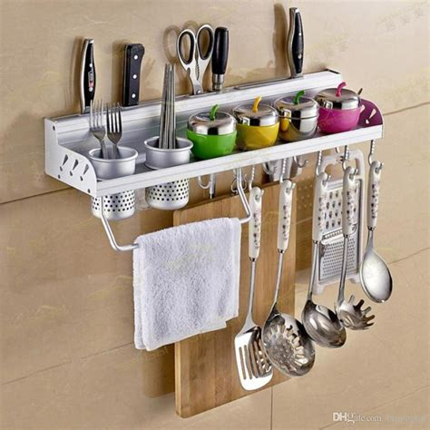 kitchen wall hanging storage 2018 multifunctional wall hanging aluminum kitchen rack of 6421