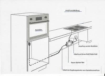 splitter für herd und kochfeld power splitter induktions kochfeld backofen herdanschlu 223 kabel 2 3 10m powerbox eur 79 95