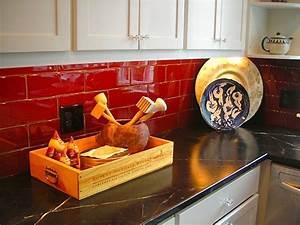 Black counter red backsplash kitchen refresh for Red and black kitchen backsplash