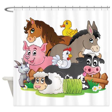 cute cartoon farm animals shower curtain  getyergoat