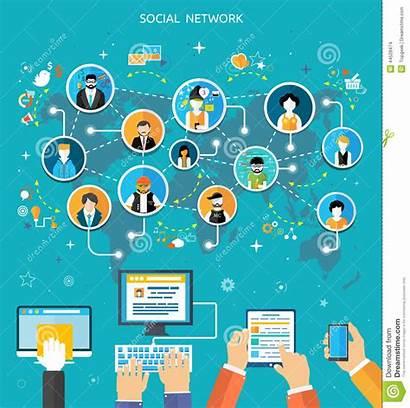 Social Connection Network Vector Flat Dreamstime Illustration