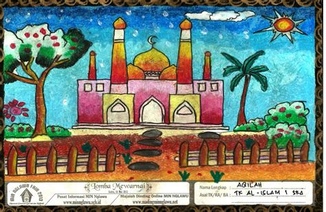 contoh gambar mewarnai masjid dengan crayon