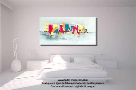 toile pour chambre tableau fuchsia gris déco design grande toile rectangle