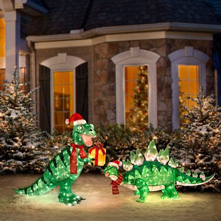 pre lit animated dinosaur christmas yard decorations