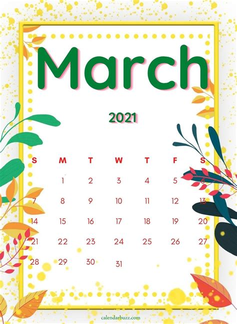 march  watercolor calendar printable