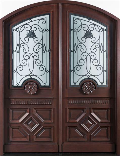 Front Door Custom  Double  Solid Wood With Dark Mahogany