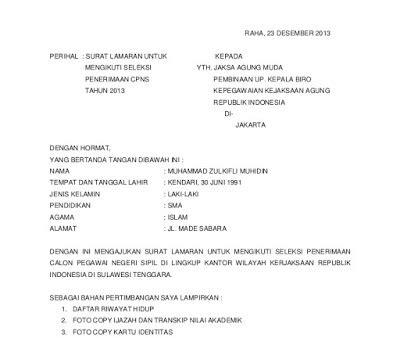 Contoh Surat Lamaran Cpns Untuk Kemendikbud by Contoh Surat Lamaran Kerja Cpns Kejaksaan Agung Resmi Dan