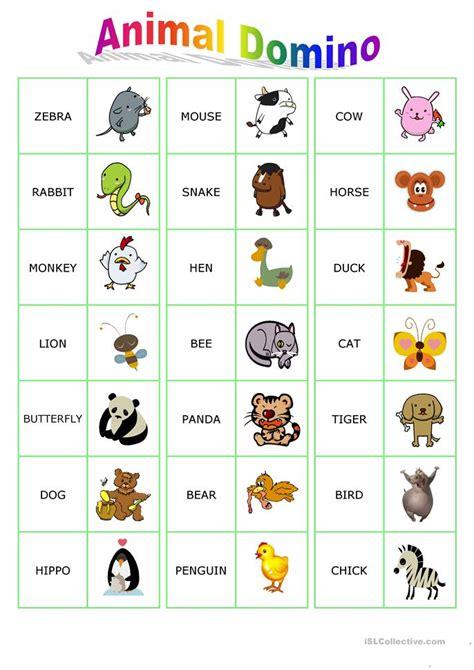 animal dominoes worksheet  esl printable worksheets