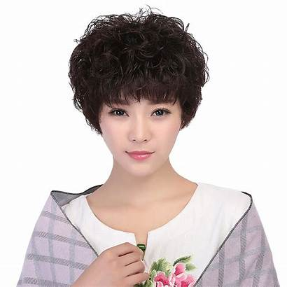 Short Curly Natural Middle Aged Round Wig
