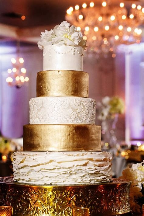 Modern Glam White and Gold Wedding Cake