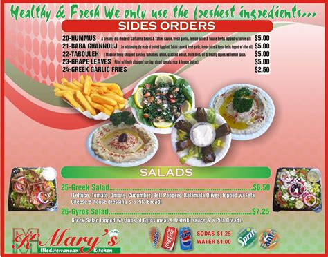Mary's Mediterranean Kitchen Menu-urbanspoon/zomato
