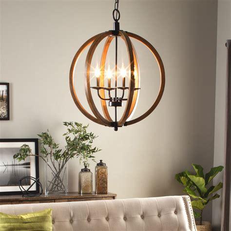 Orb Light Chandelier by Modern Chandelier Lighting Globe 4 Lights Wood Ceiling