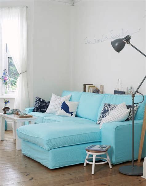 canapé turquoise ikea a blue and white coastal style home