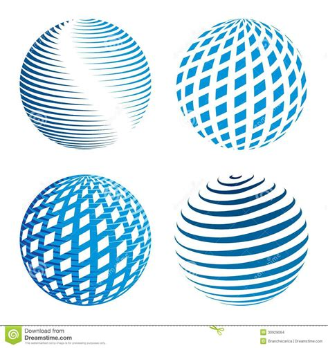 Collection Of Abstract Globe Icons Stock Vector ...