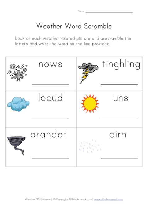 Weather Worksheet  Word Scramble