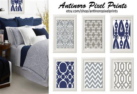 Navy Blue Grey White Wall Art Vintage / By Antinoropixelprints