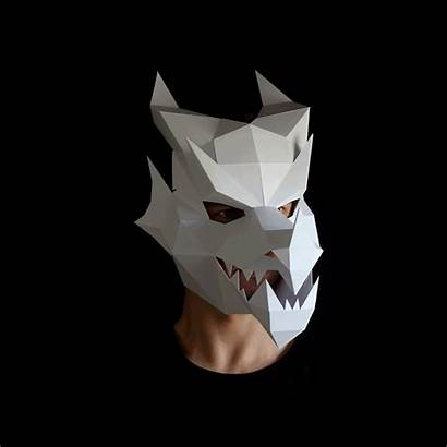 Dragon Head Mask 3d Origami Template Paper