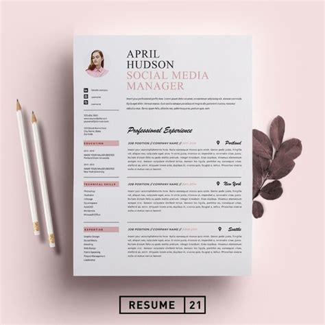 social media resume template cv by resume21 on