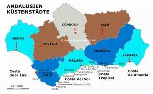 spanien fläche die regionen provinzen andalusien karte südspanien