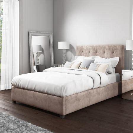 safina kingsize ottoman bed  beige velvet furniture