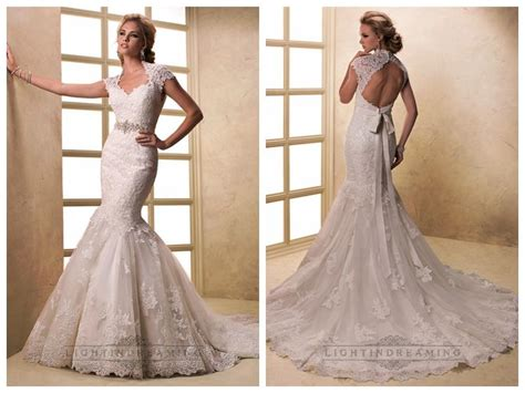 Cap Sleeves V-neck Mermaid Lace Wedding Dresses With