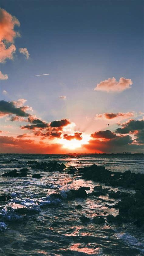 landscape sea sky dusk wallpapersc smartphone
