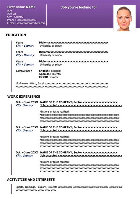 downloadable resume template  word