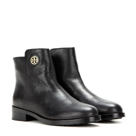 Tory burch Junction Leather Ankle Boots in Black   Lyst
