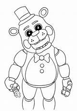 Nights Five Freddys Pages Colouring Coloring Fnaf sketch template