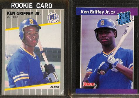 deck ken griffey jr 355 lot detail lot of 8 ken griffey jr rookie cards w 1989