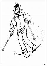 Skiing Coloring sketch template