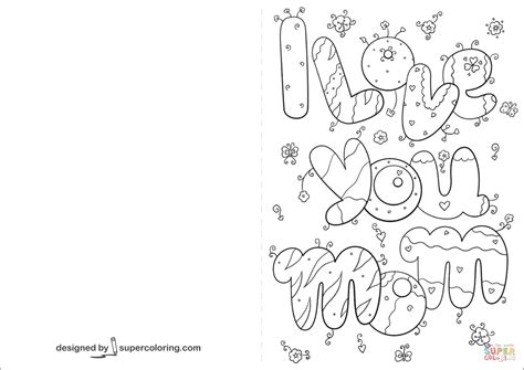 I Love You Mom Card Coloring Page Free Printable