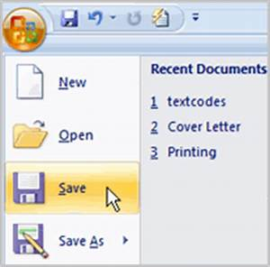 Word 2007 saving documents for Saved documents in word