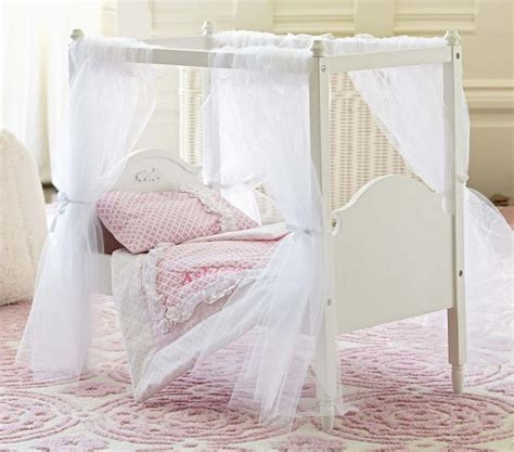 doll canopy bed pink floral bedding pottery barn kids