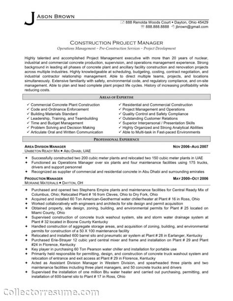 construction project manager resume sles resume
