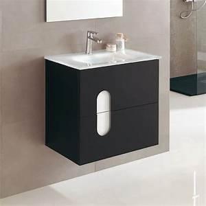 Meuble Vasque 60 Cm : meuble salle de bain 60 cm 2 tiroirs plan vasque verre ~ Dailycaller-alerts.com Idées de Décoration