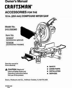 Craftsman 10 Inch Compound Miter Saw Model 315 Parts