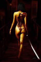 Naked woman with sword tattoo