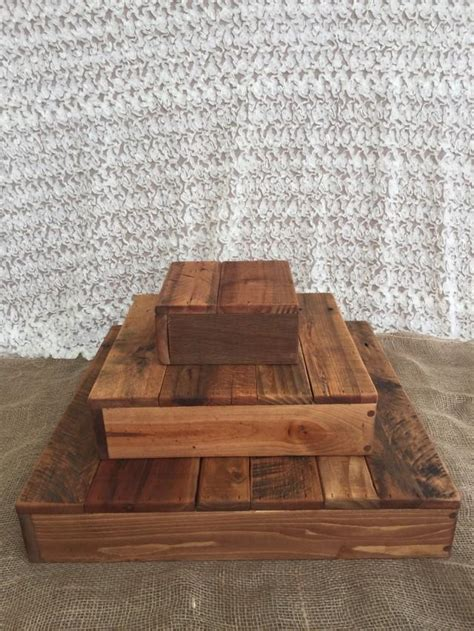 rustic wood cupcake stand tiered wedding party