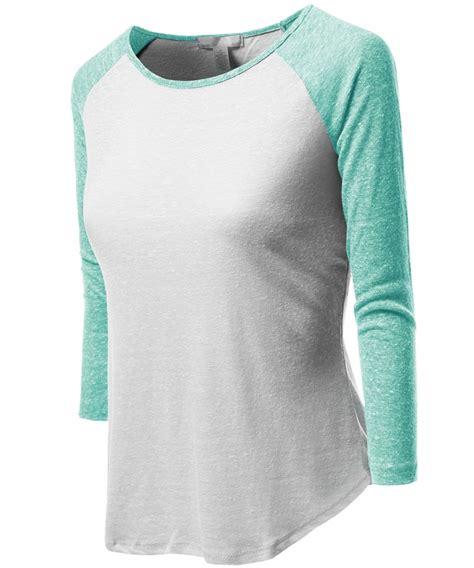 Contrast Neck Sleeve T Shirt 3 4 color contrast sleeve raglan neck baseball t