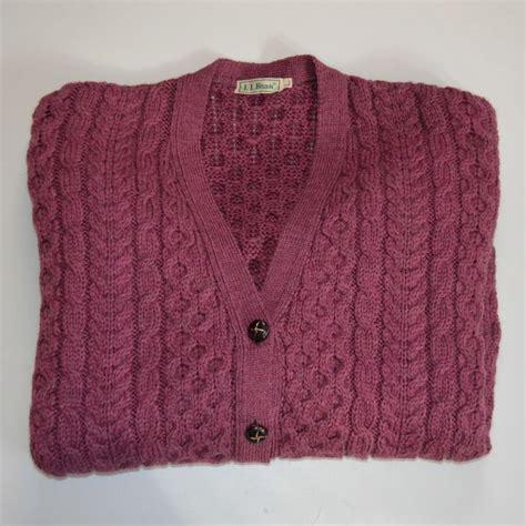 ll bean sweater fleece ll bean wool cardigan sweater size large maroon