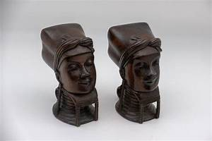 Burmese, Wooden, Bookends, Or, Busts, Pair