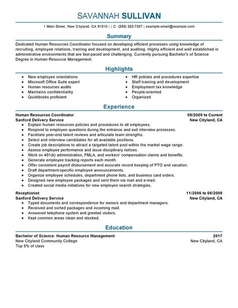 Benefits Coordinator Resume by Hr Coordinator Resume Exle Human Resources Sle Resumes Livecareer