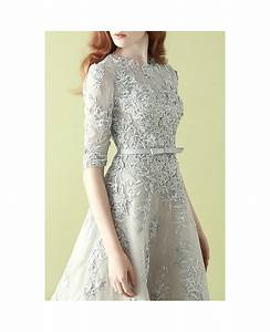 gorgeous silver lace half sleeve a line tulle wedding With dresses for wedding party