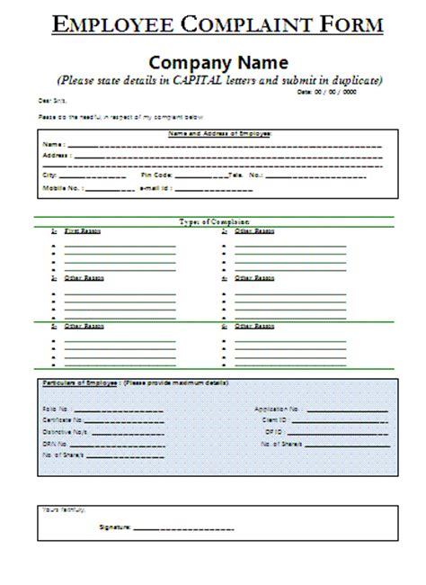 sample employee complaint form certificate templates